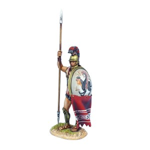 AG065 Greek Hoplite Standing with Dory and Shield Curtain